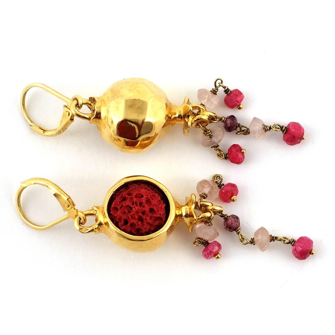 boucles d 39 oreilles vermeil rubis quartz roses diane de. Black Bedroom Furniture Sets. Home Design Ideas
