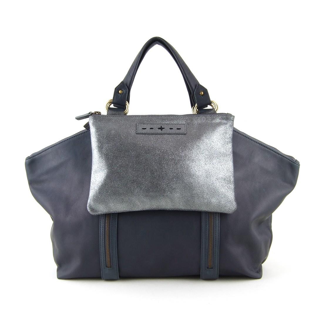 ... sacs à main  Sac modulable en cuir bleu gris sangles avec franges