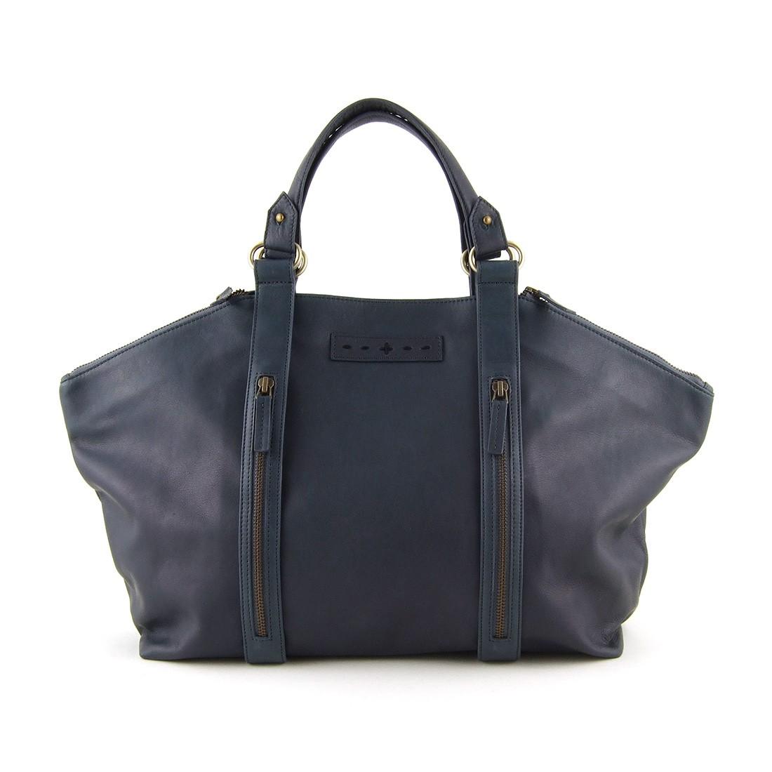 ...  sacs à main  Sac modulable en cuir bleu gris sangles zip