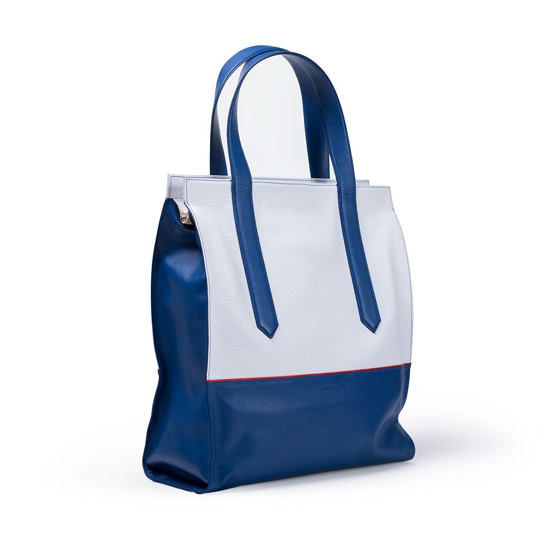 Sac A Main Blanc Et Bleu : Cabas en cuir bleu et blanc carokhoto sacs ? main