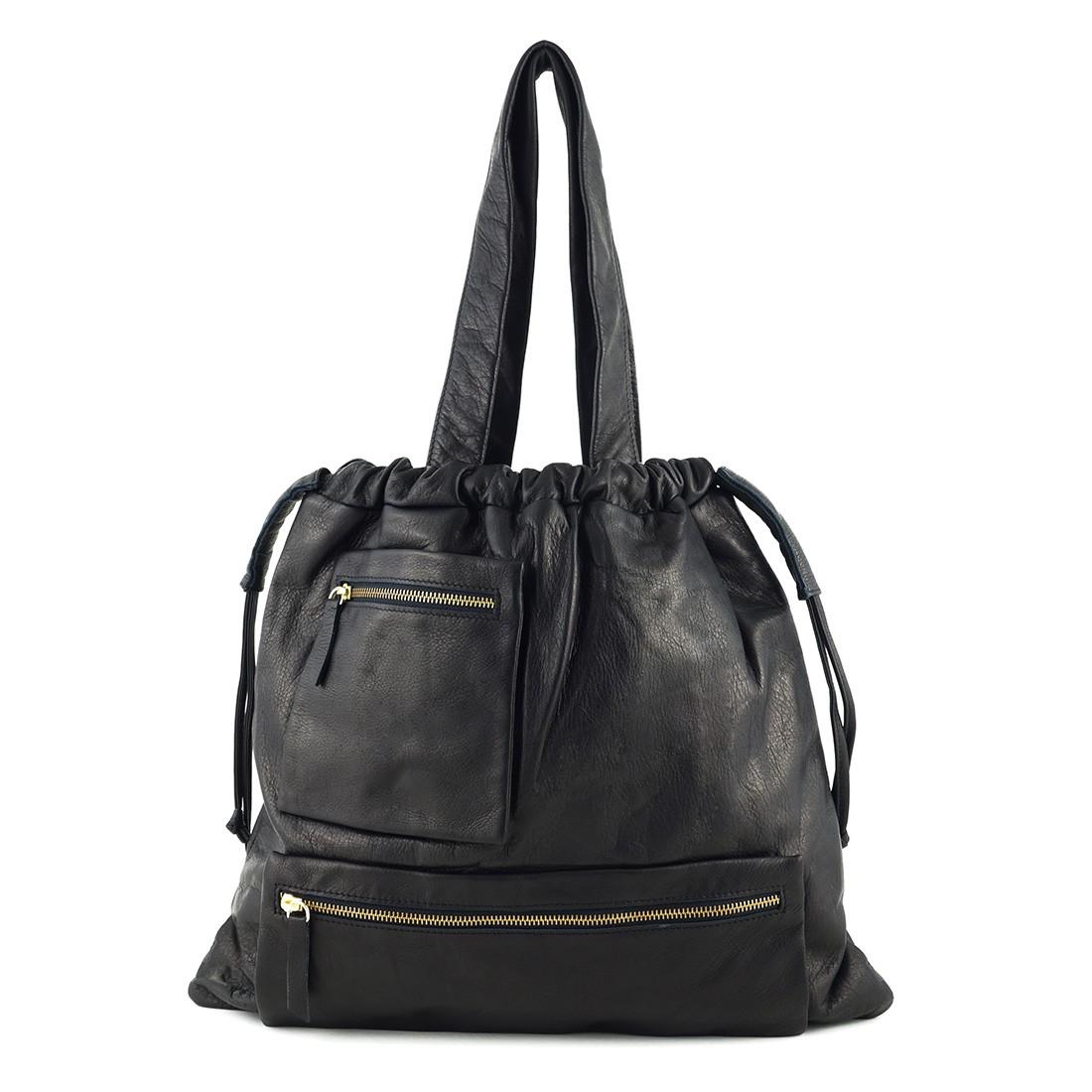 sac main fronc en cuir noir an ka sacs main les cr ateurs de paris. Black Bedroom Furniture Sets. Home Design Ideas