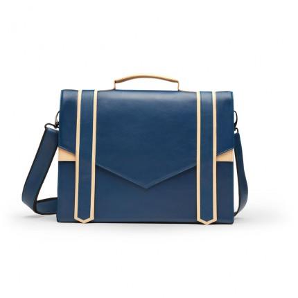 sac cartable en cuir bleu et beige carokhoto sacs. Black Bedroom Furniture Sets. Home Design Ideas